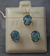 Sterling silver mosaic opal earrings/pendant set