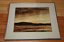 Sheila White, watercolour outback landscape,