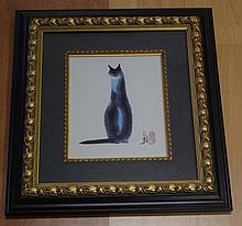Artist unknown, offset print seated cat, 54cm x