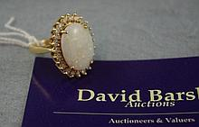 14ct yellow gold, solid opal and diamond ring opal