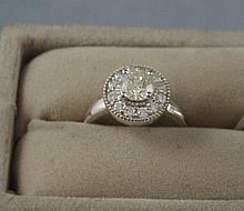 14ct white gold, yellow and white diamond ring