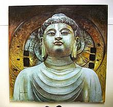 Large canvas picture of Buddha signature lower