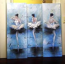 Set of 3 mixed media on canvas ballet pictures