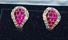 18ct yellow gold, ruby and diamond earrings