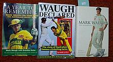 Three signed cricket books, Mark Waugh,