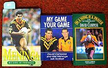 Three signed rugby books, David Campese, Mal