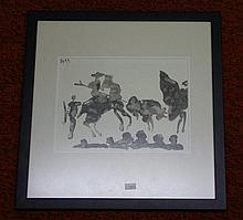 Unsigned Picasso ink on paper bullfight (double