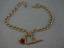 9ct rose gold fob chain and fob total weight
