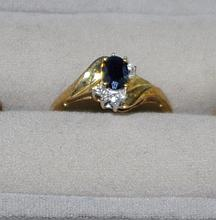 9ct yellow gold, sapphire ring with simulated