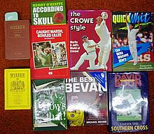 Seven signed cricket books plus three others,