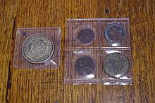 Australian 1937 silver crown and 4 early copper