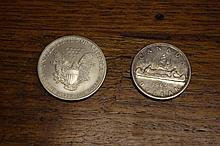 US silver $1 coin and Canada silver $1 coin 1991 &