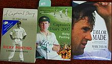 Three signed cricket books, Ricky Ponting, Mark