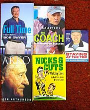 Five mixed signed books on rugby, Ric