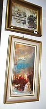 Two French oil on canvas harbour scenes