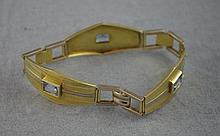 14ct yellow gold and aquamarine bracelet