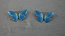 Pair sterling silver and enamel butterflies