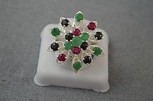 Sterling silver, emerald, ruby and sapphire ring