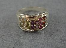 Sterling silver multi-gem set ring