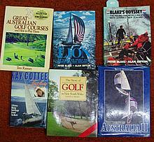 Six signed golf and sailing books, Peter Blake,