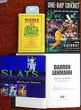 Three signed cricket books, plus Wisden
