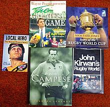 Six signed rugby books, W Pearce, Nick Farr-Jones,