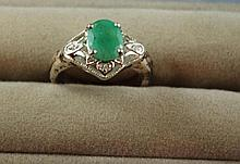 Sterling silver and emerald ring size 7