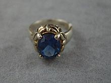 Sterling silver and blue gemstone ring