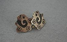Mexican silver earrings markings verso, screw