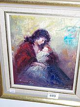 Rubion, oil on canvas mother and baby, signed