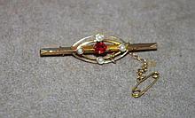 9ct yellow & rose gold Edwardian bar brooch paste