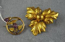 Scottish gilt metal thistle brooch together with a