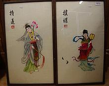 Two Japanese silk pictures