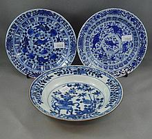 Two antique Chinese blue & white porcelain plates