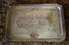 Large Persian silver tray with ornate engraved