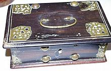17th century Indian ebony box with brass mounts