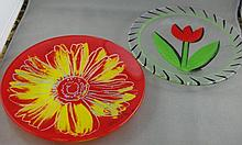 Two hand painted glass plates approx 19cm