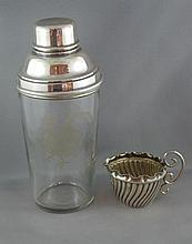 Silver plated and etched glass cocktail shaker by