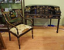 Black japaned desk and chair with ornate