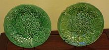 Two antique green Majolica plates with raised