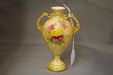 Small Royal Worcester blush ivory vase Decorated