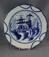 Georgian pearlware feather edge pagoda plate with