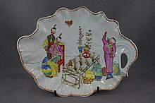 English 18thC chinoiserie leaf form plate a/f,