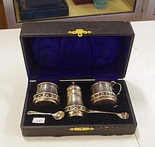Boxed sterling silver cruet set hallmarked