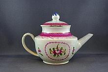 Late 18th century creamware teapot a/f, 11cm high