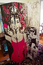 Large 3 panel screen of Audrey Hepburn decorated