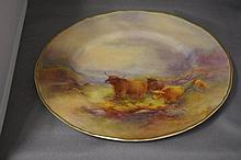Royal Worcester cabinet plate with highland cattle