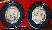 Pair of antique framed watercolours of Lord Nelson