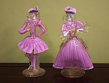 Two Murano glass figurines one has head