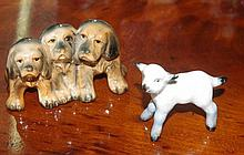 Beswick lamb and Three dog figurine